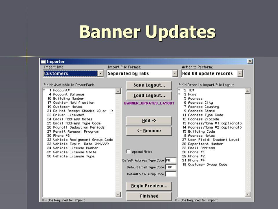 Banner Updates