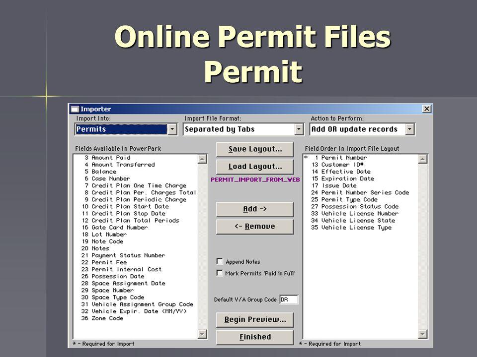Online Permit Files Permit