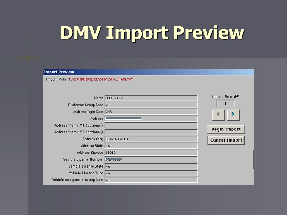 DMV Import Preview