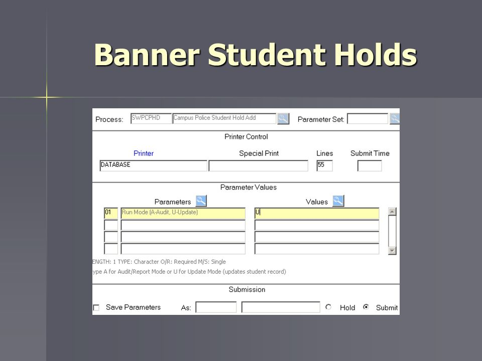 Banner Student Holds