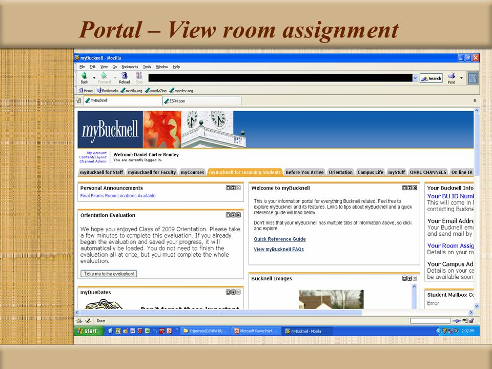 Portal – View room assignment