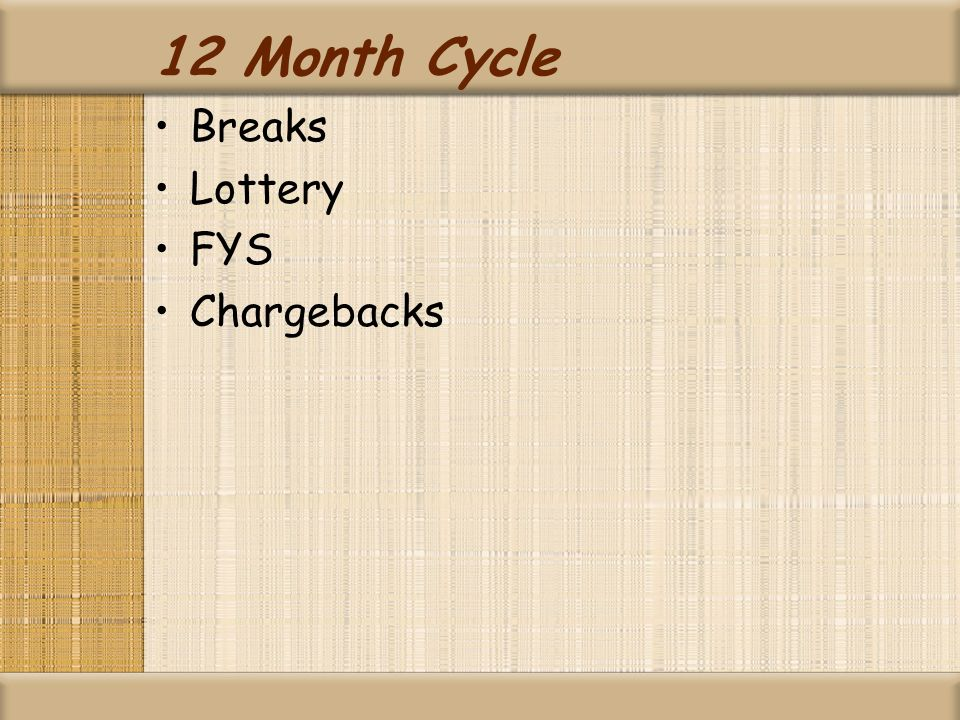 12 Month Cycle Breaks Lottery FYS Chargebacks