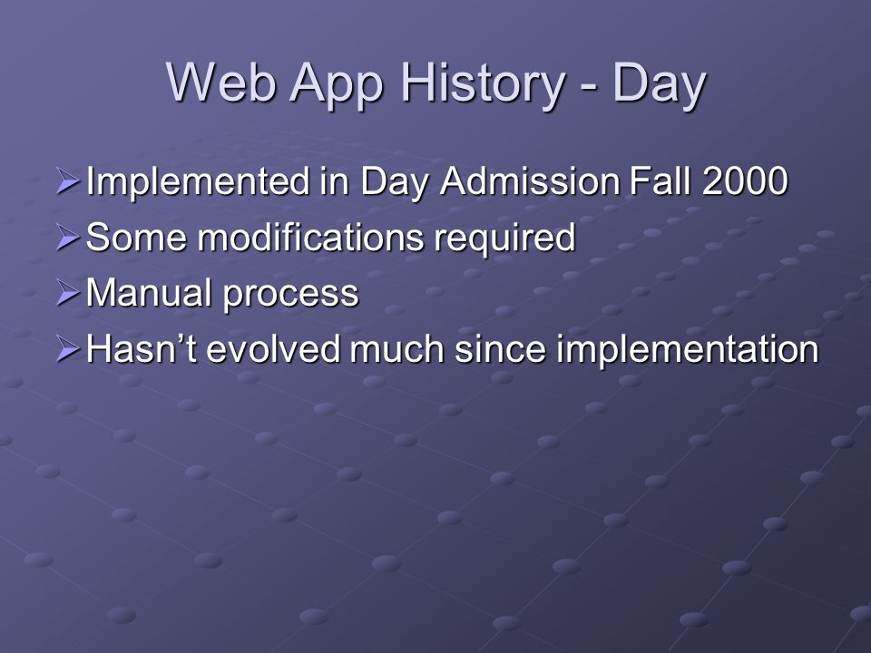 Web App History - Day Implemented in Day Admission Fall 2000 Implemented in Day Admission Fall 2000 Some modifications required Some modifications req