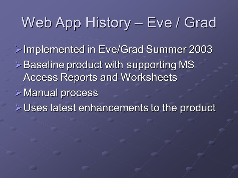 Web App History – Eve / Grad Implemented in Eve/Grad Summer 2003 Implemented in Eve/Grad Summer 2003 Baseline product with supporting MS Access Report