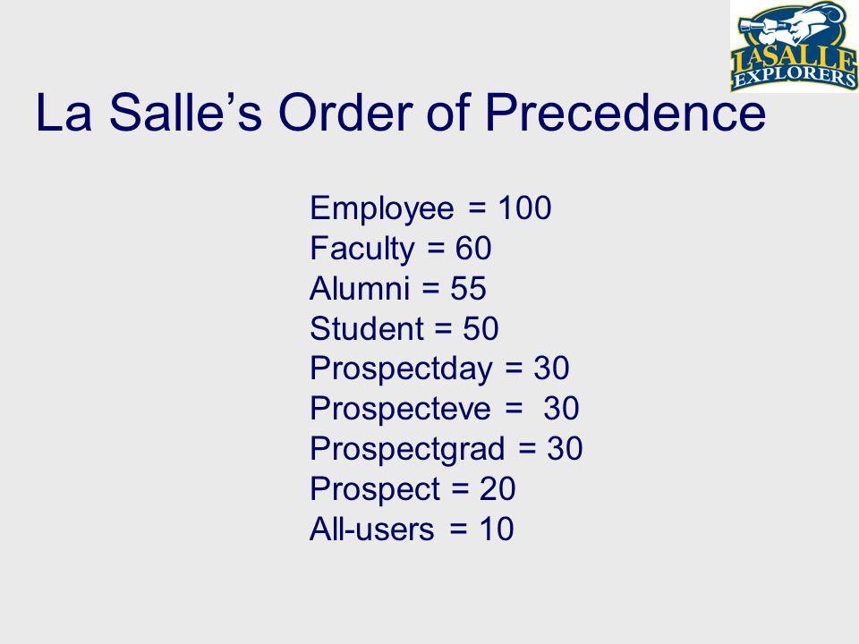 La Salles Order of Precedence Employee = 100 Faculty = 60 Alumni = 55 Student = 50 Prospectday = 30 Prospecteve = 30 Prospectgrad = 30 Prospect = 20 All-users = 10