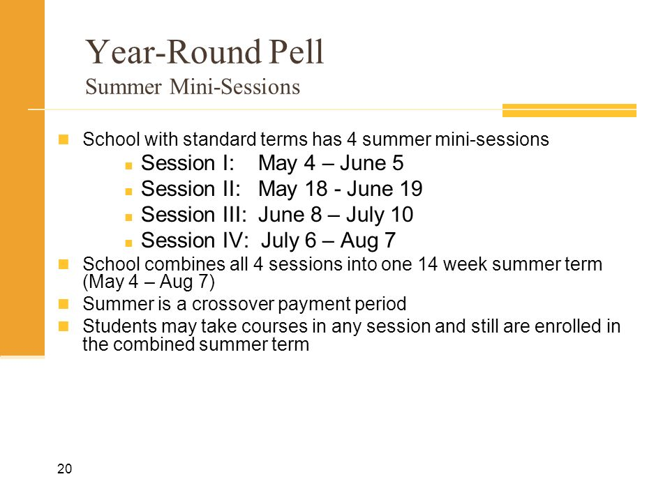 Year-Round Pell Summer Mini-Sessions School with standard terms has 4 summer mini-sessions Session I:May 4 – June 5 Session II:May 18 - June 19 Session III:June 8 – July 10 Session IV: July 6 – Aug 7 School combines all 4 sessions into one 14 week summer term (May 4 – Aug 7) Summer is a crossover payment period Students may take courses in any session and still are enrolled in the combined summer term 20