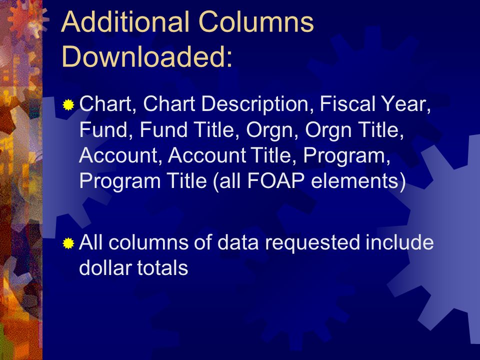 Additional Columns Downloaded: Chart, Chart Description, Fiscal Year, Fund, Fund Title, Orgn, Orgn Title, Account, Account Title, Program, Program Tit