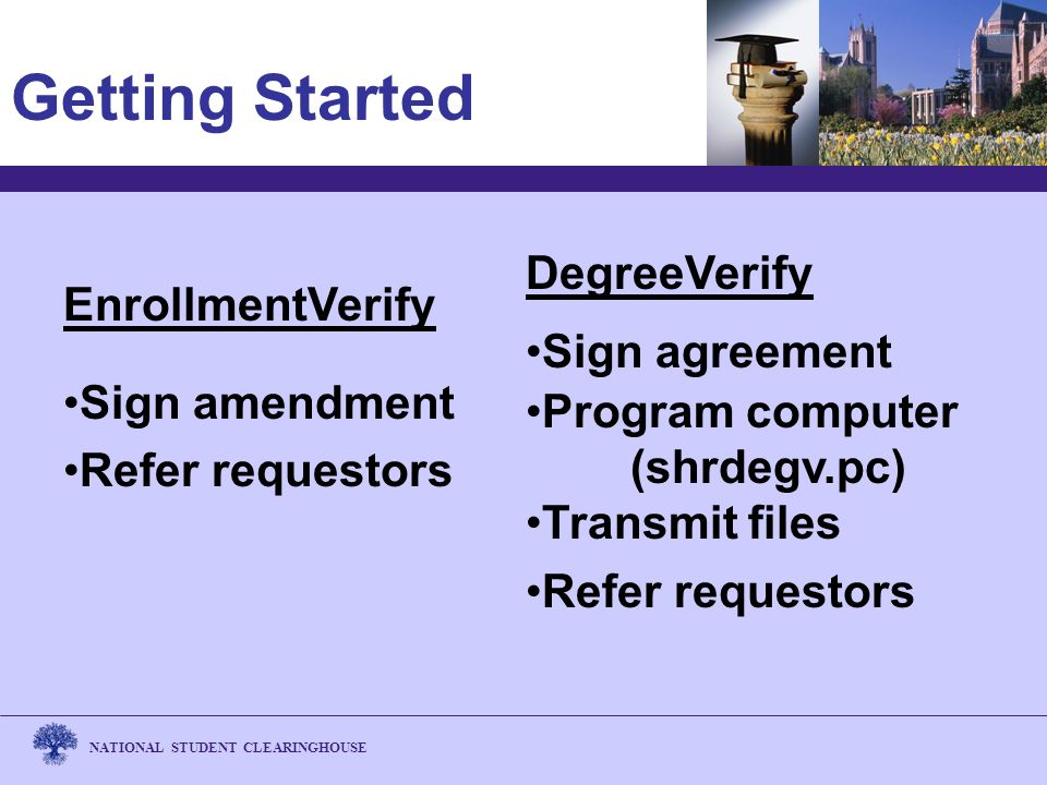 NATIONAL STUDENT CLEARINGHOUSE Getting Started DegreeVerify Sign agreement Program computer (shrdegv.pc) Transmit files Refer requestors EnrollmentVerify Sign amendment Refer requestors