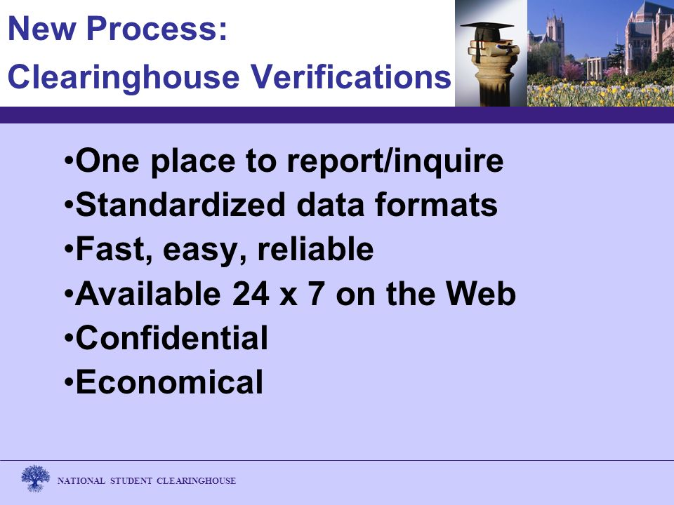 NATIONAL STUDENT CLEARINGHOUSE New Process: Clearinghouse Verifications One place to report/inquire Standardized data formats Fast, easy, reliable Available 24 x 7 on the Web Confidential Economical