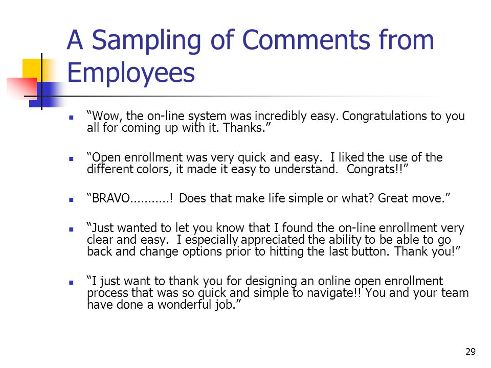 29 A Sampling of Comments from Employees Wow, the on-line system was incredibly easy.