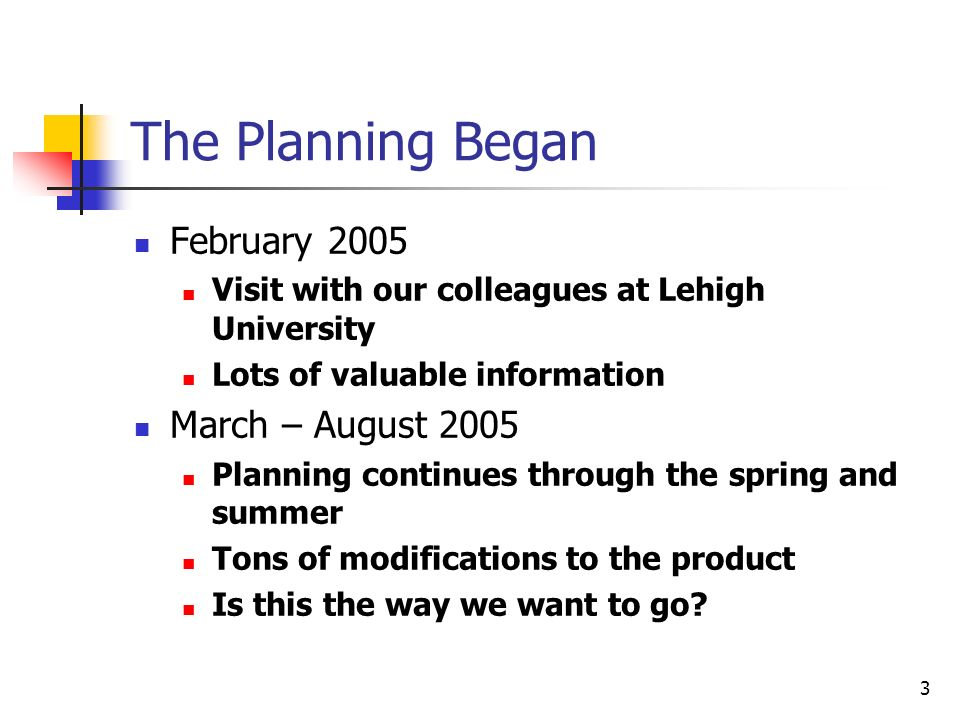 3 The Planning Began February 2005 Visit with our colleagues at Lehigh University Lots of valuable information March – August 2005 Planning continues through the spring and summer Tons of modifications to the product Is this the way we want to go