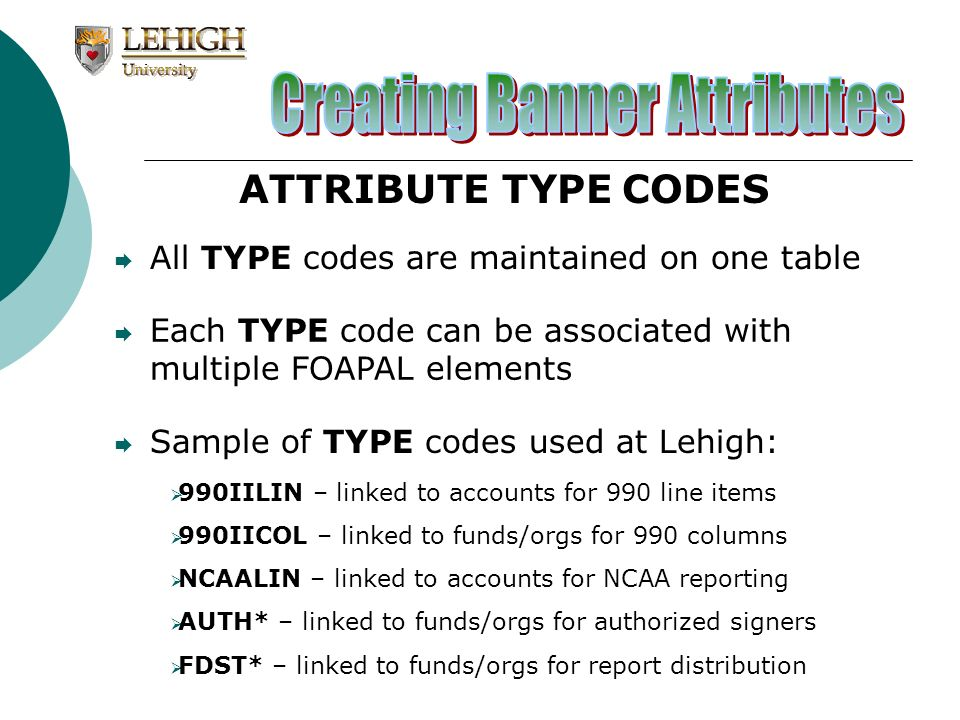 ATTRIBUTE TYPE CODES All TYPE codes are maintained on one table Each TYPE code can be associated with multiple FOAPAL elements 990IILIN – linked to ac