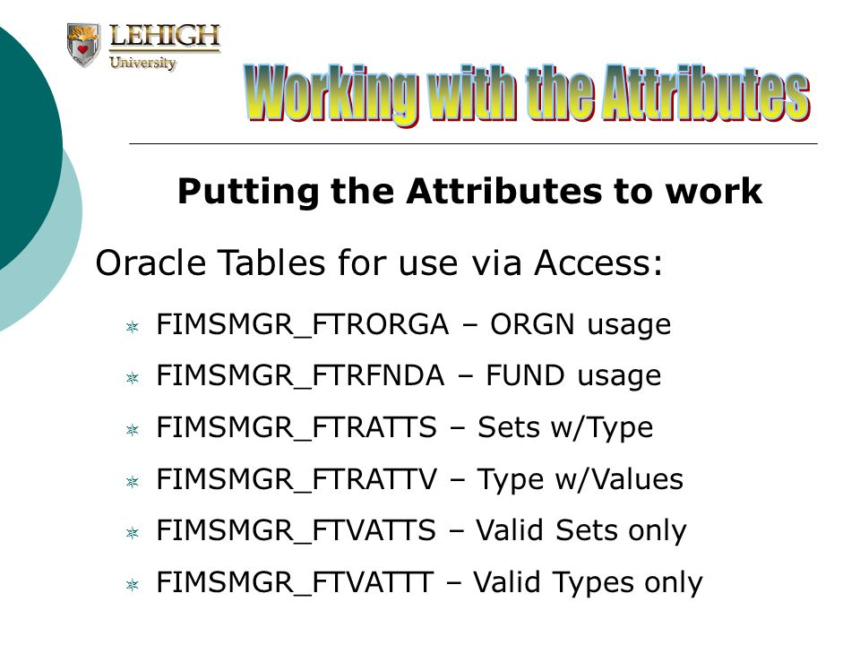 Putting the Attributes to work Oracle Tables for use via Access: FIMSMGR_FTRORGA – ORGN usage FIMSMGR_FTRFNDA – FUND usage FIMSMGR_FTRATTS – Sets w/Ty