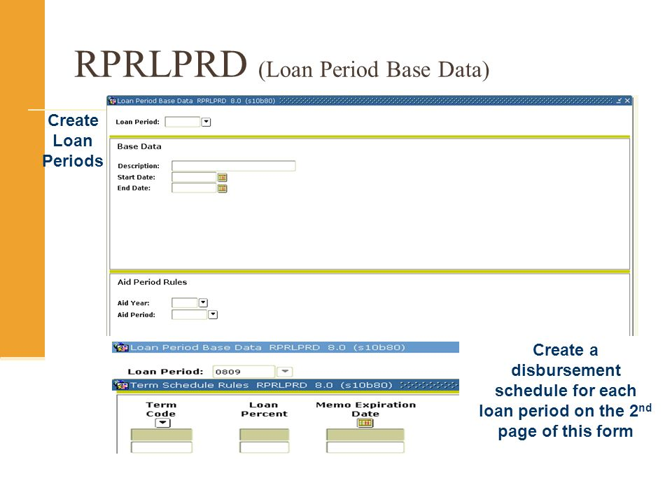 RPRLPRD (Loan Period Base Data) Create Loan Periods Create a disbursement schedule for each loan period on the 2 nd page of this form
