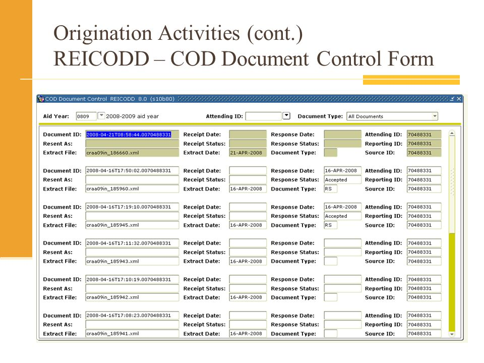 Origination Activities (cont.) REICODD – COD Document Control Form