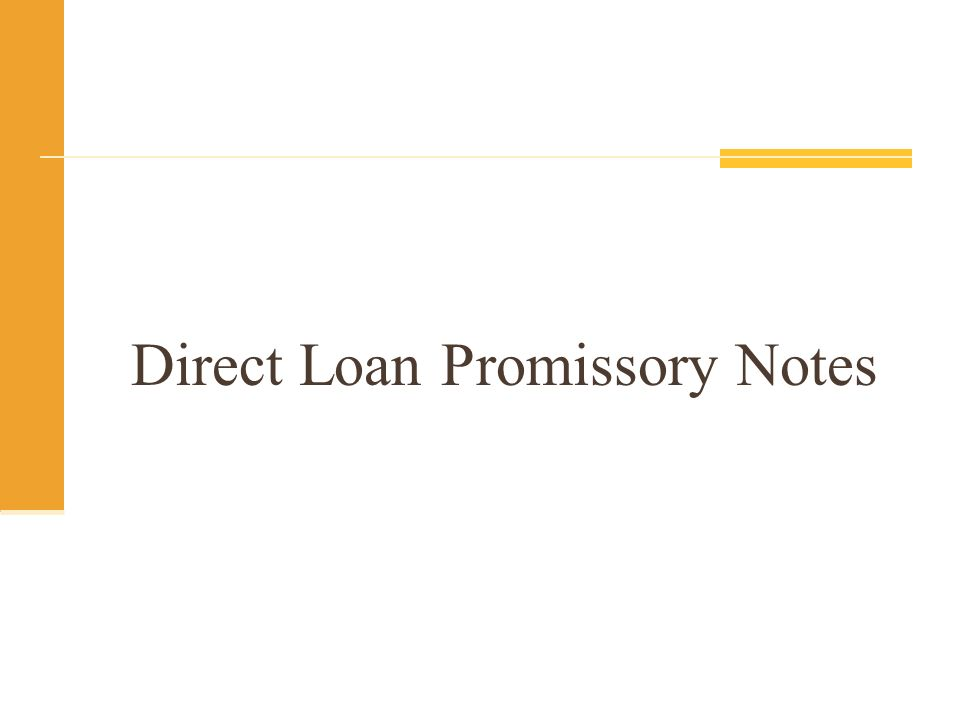 Direct Loan Promissory Notes