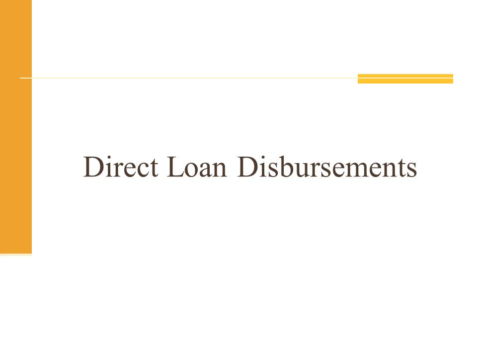 Direct Loan Disbursements
