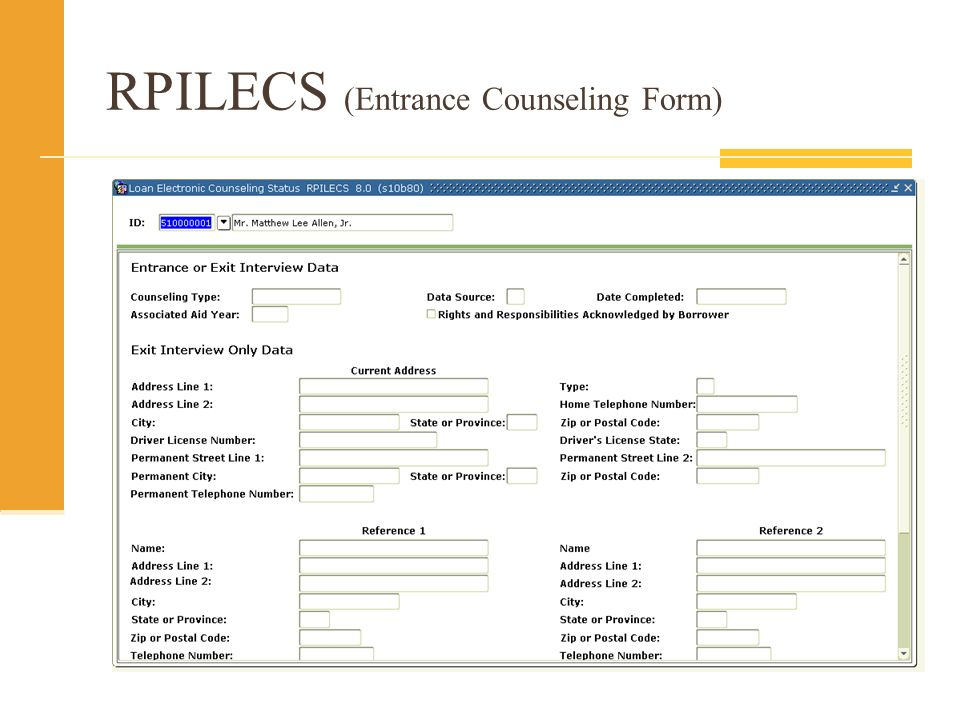 RPILECS (Entrance Counseling Form)