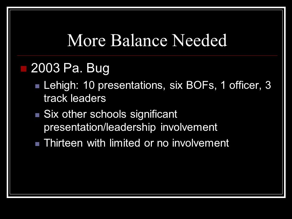 More Balance Needed 2003 Pa.
