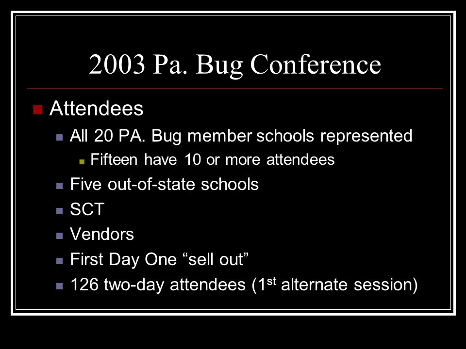 2003 Pa. Bug Conference Attendees All 20 PA.