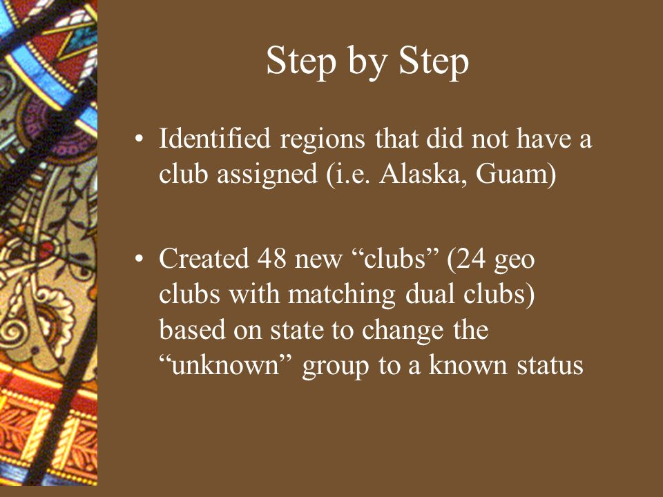 Step by Step continued Located zip codes which were coded in more than one geo clubs Reassigned the zips to the proper club Gathered zip code ranges from USPS zip code books for those clubs that are statewide Downloaded constituent data to verify addresses and zip codes, corrected as needed Recoded SOAGEOR based on constituent addresses and zip ranges