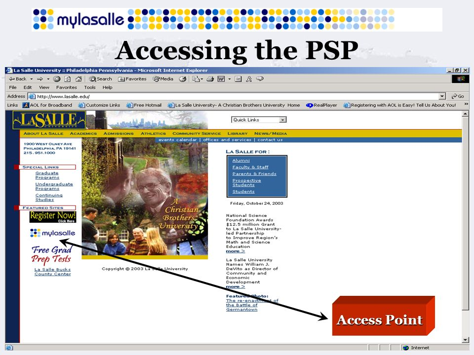 Accessing the PSP Access Point