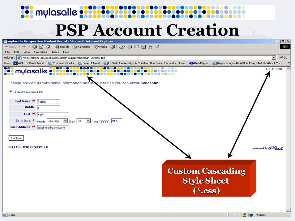 PSP Account Creation Custom Cascading Style Sheet (*.css)