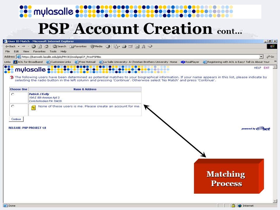 PSP Account Creation cont… MatchingProcess