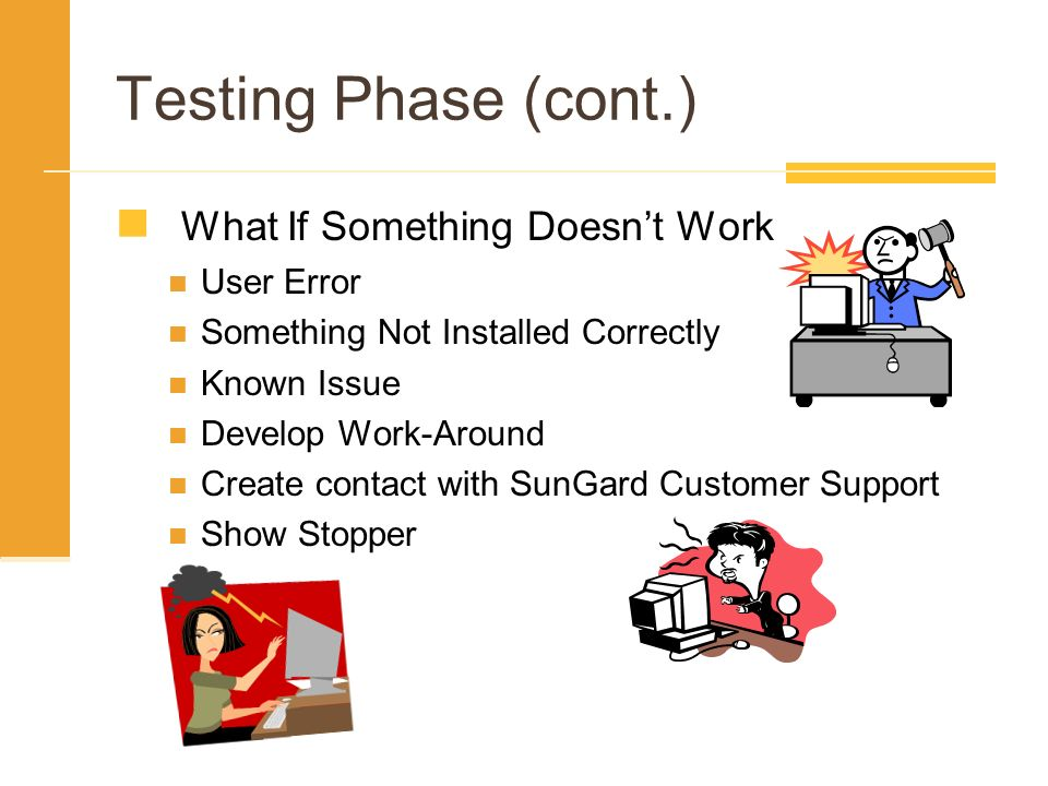 Testing Phase (cont.) What If Something Doesnt Work User Error Something Not Installed Correctly Known Issue Develop Work-Around Create contact with S
