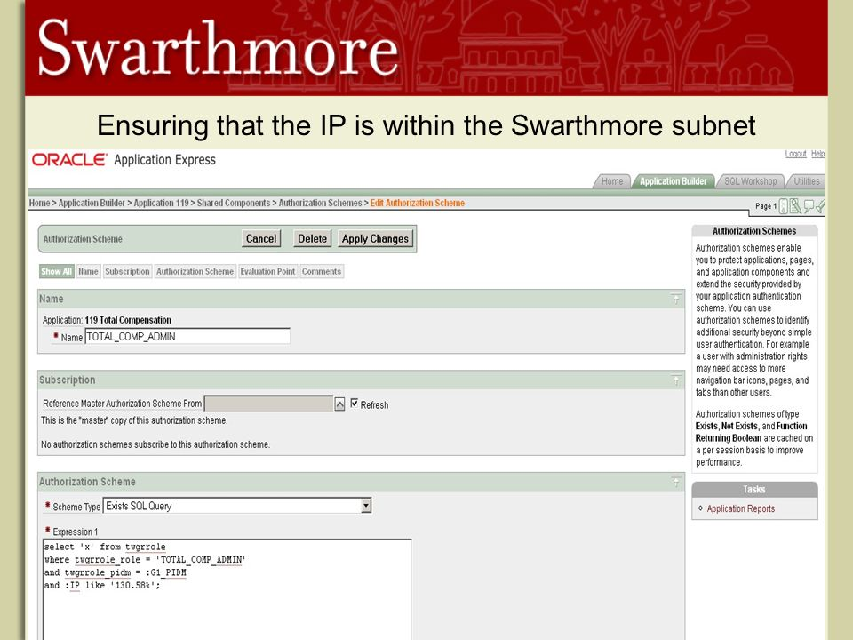 Ensuring that the IP is within the Swarthmore subnet