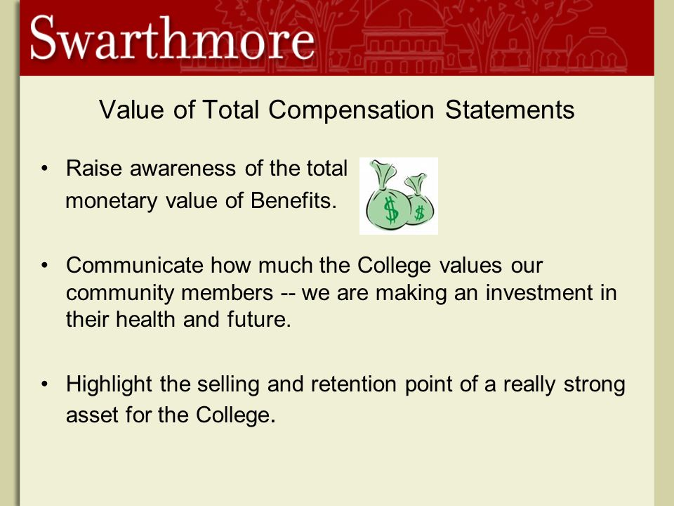 Value of Total Compensation Statements Raise awareness of the total monetary value of Benefits.