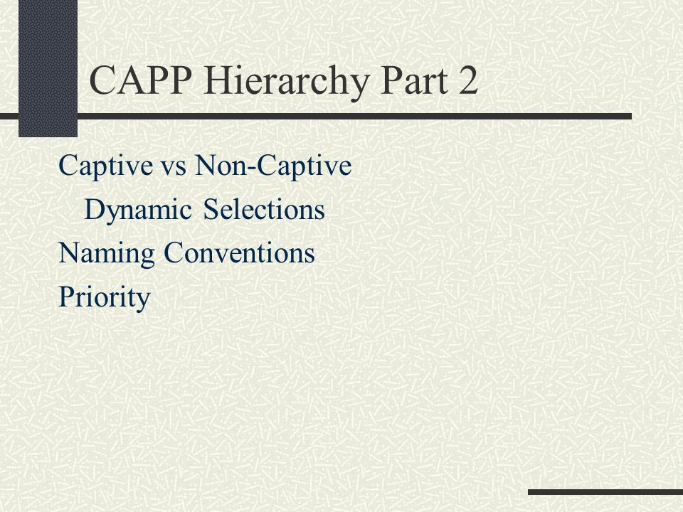 CAPP Hierarchy Part 2 Captive vs Non-Captive Dynamic Selections Naming Conventions Priority