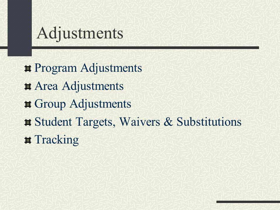 Adjustments Program Adjustments Area Adjustments Group Adjustments Student Targets, Waivers & Substitutions Tracking