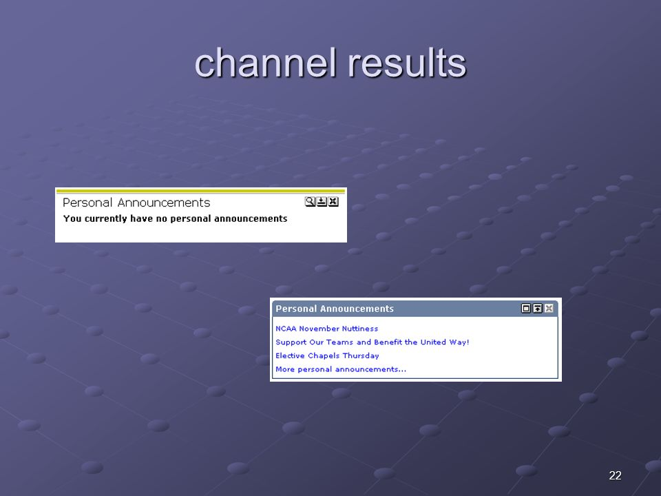 22 channel results