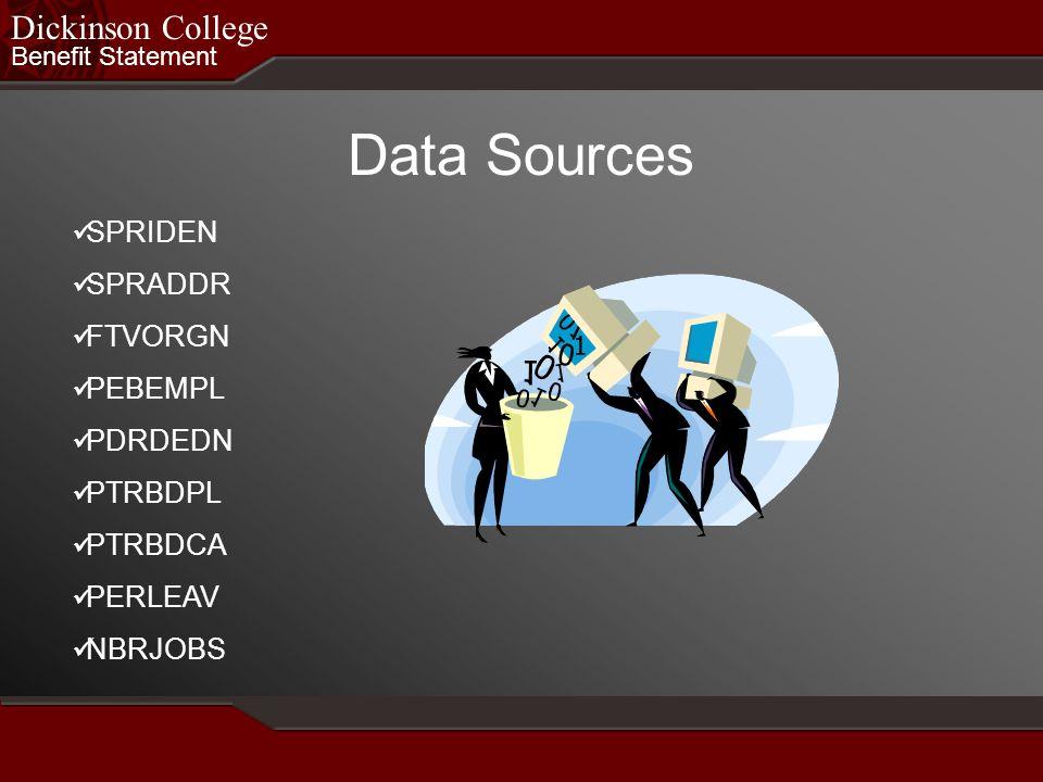 Benefit Statement Dickinson College Data Sources SPRIDEN SPRADDR FTVORGN PEBEMPL PDRDEDN PTRBDPL PTRBDCA PERLEAV NBRJOBS