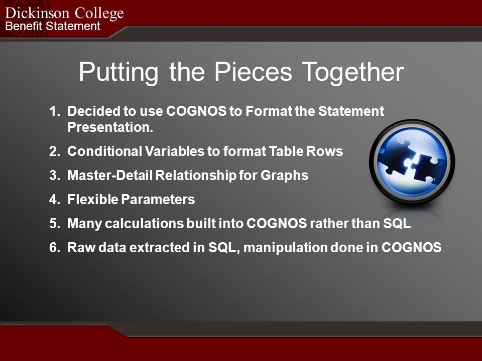Benefit Statement Dickinson College Putting the Pieces Together 1.Decided to use COGNOS to Format the Statement Presentation. 2.Conditional Variables
