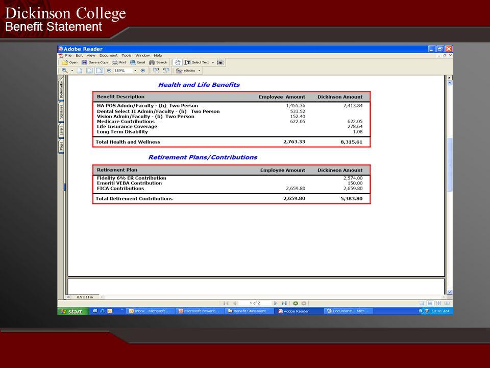 Benefit Statement Dickinson College