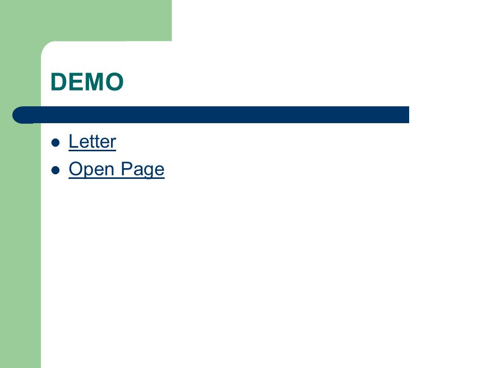 DEMO Letter Open Page