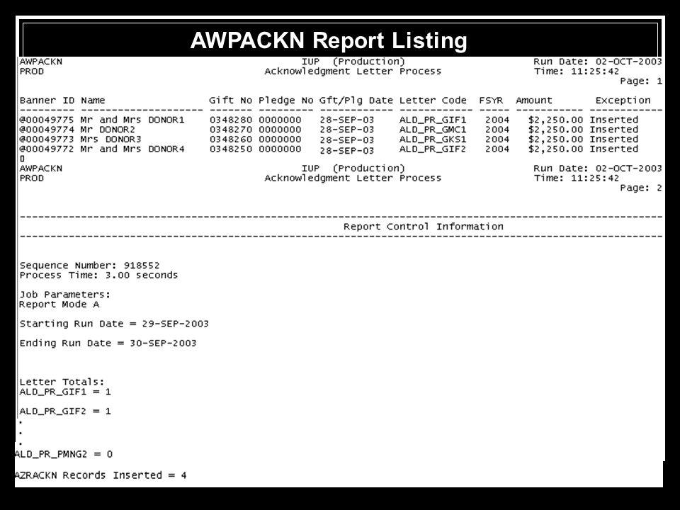 AWPACKN Report Listing