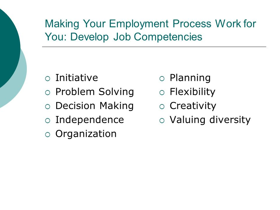 Making Your Employment Process Work for You: Develop Job Competencies Initiative Problem Solving Decision Making Independence Organization Planning Fl