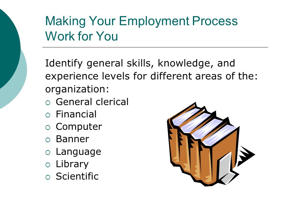Making Your Employment Process Work for You Identify general skills, knowledge, and experience levels for different areas of the: organization: Genera