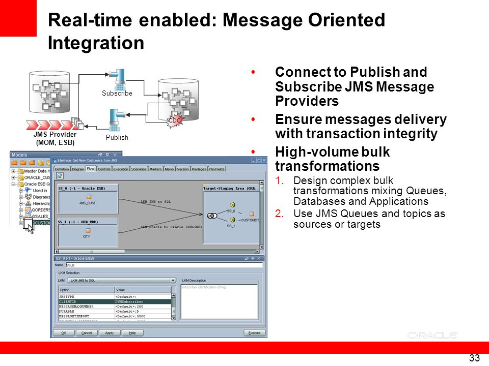 33 Real-time enabled: Message Oriented Integration Connect to Publish and Subscribe JMS Message Providers Ensure messages delivery with transaction in