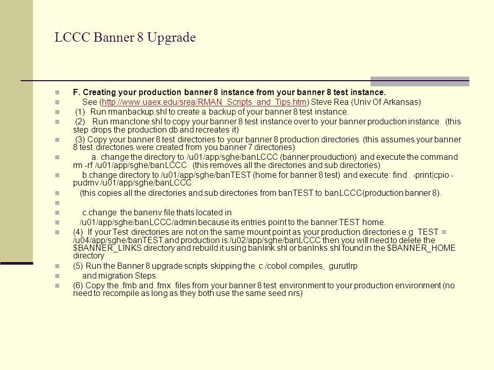 LCCC Banner 8 Upgrade F.