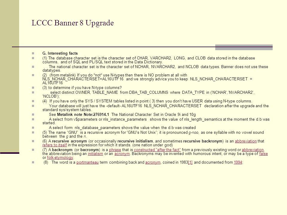 LCCC Banner 8 Upgrade G.