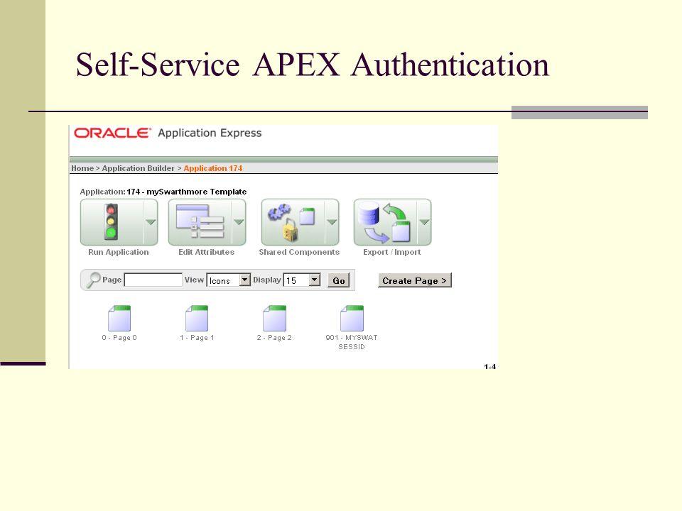Self-Service APEX Authentication
