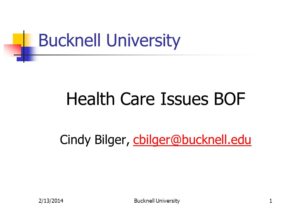 2/13/2014Bucknell University1 Health Care Issues BOF Cindy Bilger, cbilger@bucknell.educbilger@bucknell.edu