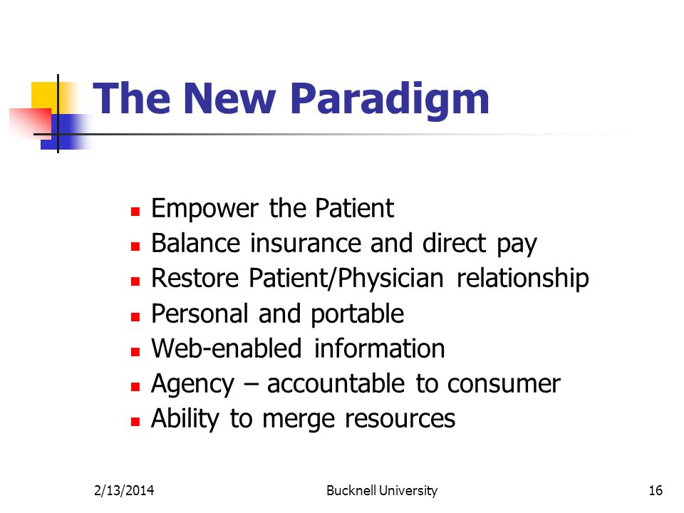 2/13/2014Bucknell University16 The New Paradigm Empower the Patient Balance insurance and direct pay Restore Patient/Physician relationship Personal and portable Web-enabled information Agency – accountable to consumer Ability to merge resources