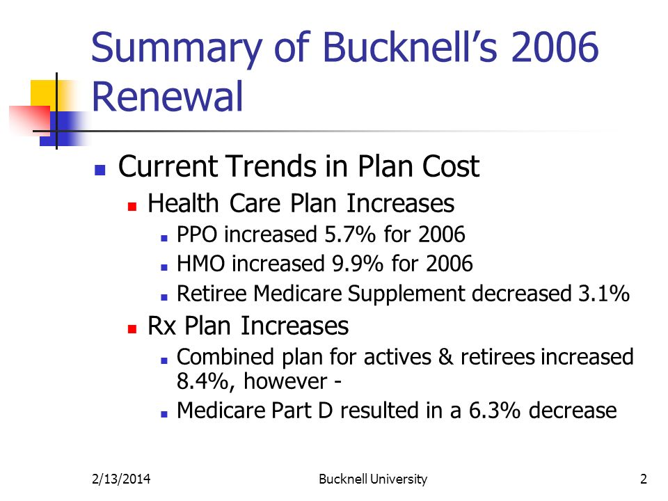 2/13/2014Bucknell University2 Summary of Bucknells 2006 Renewal Current Trends in Plan Cost Health Care Plan Increases PPO increased 5.7% for 2006 HMO increased 9.9% for 2006 Retiree Medicare Supplement decreased 3.1% Rx Plan Increases Combined plan for actives & retirees increased 8.4%, however - Medicare Part D resulted in a 6.3% decrease