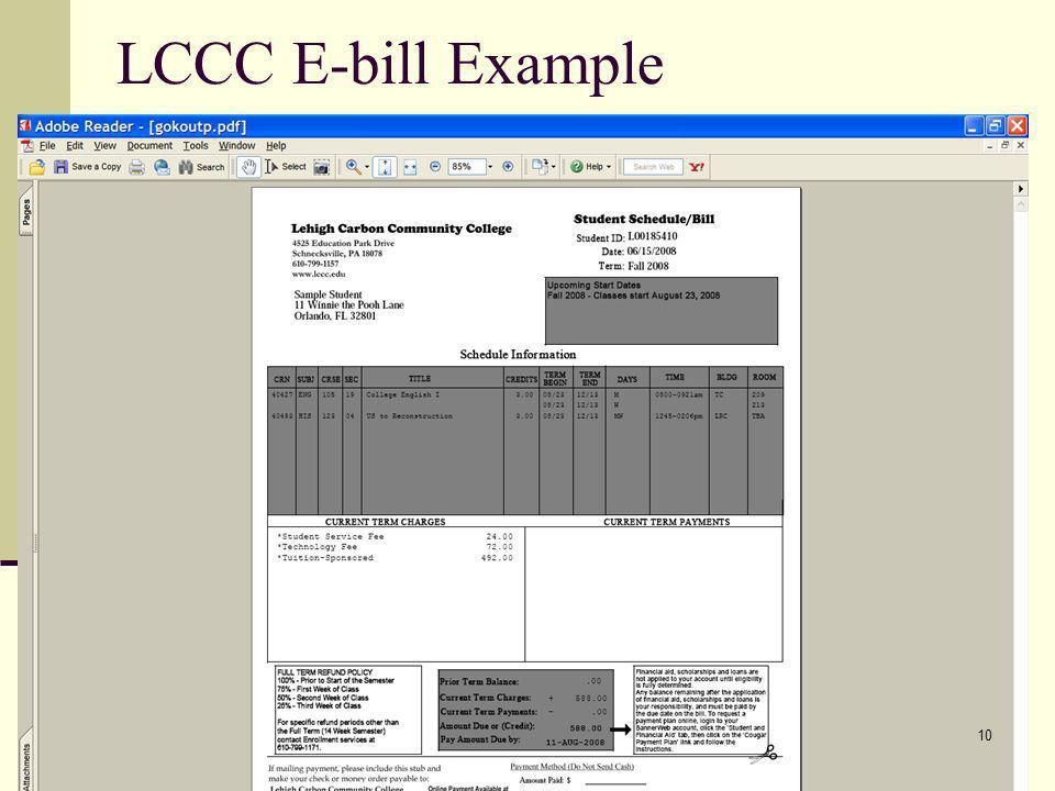 LCCC E-bill Example 10