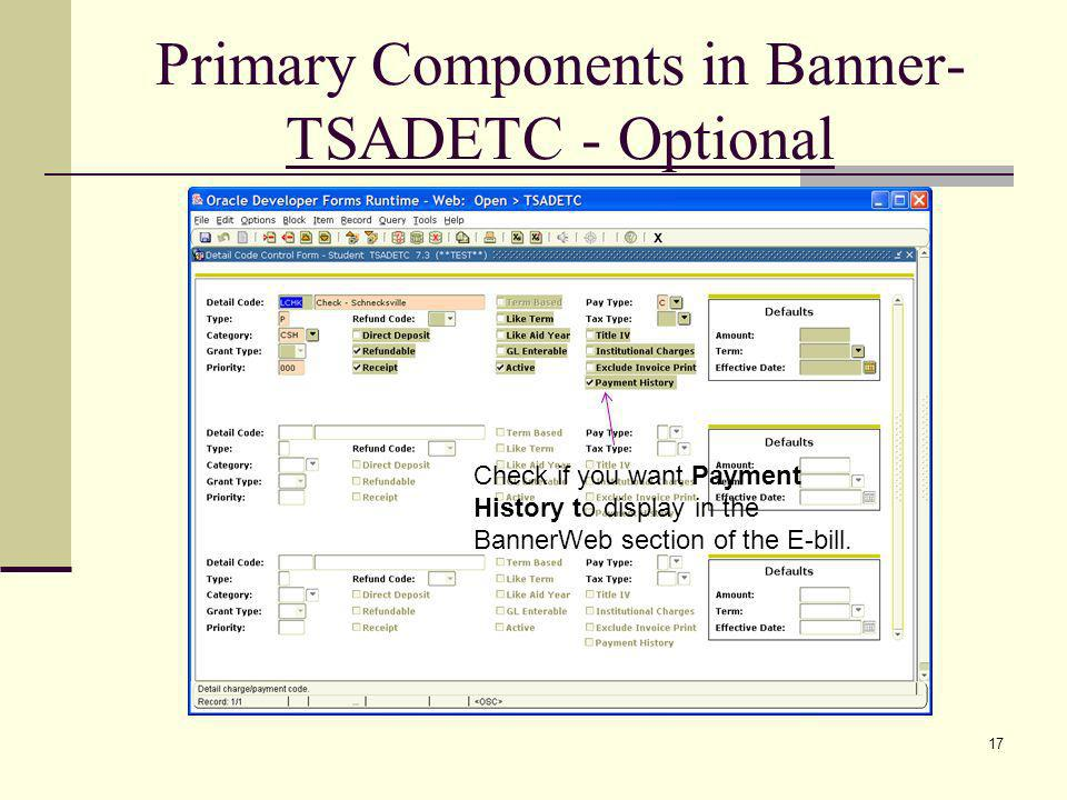 Primary Components in Banner- TSADETC - Optional Check if you want Payment History to display in the BannerWeb section of the E-bill. 17